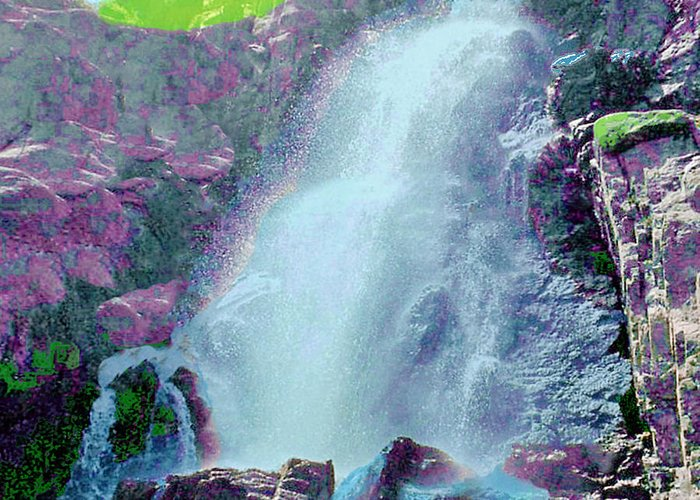 Nature Greeting Card featuring the photograph Mountain Waterfall by Mike Andre