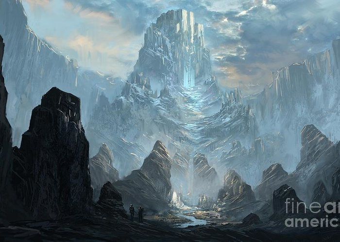 Mountains Castles Fantasy  Artwork  Greeting Card featuring the painting Mountains Castles Fantasy  Artwork  by Peak Taste