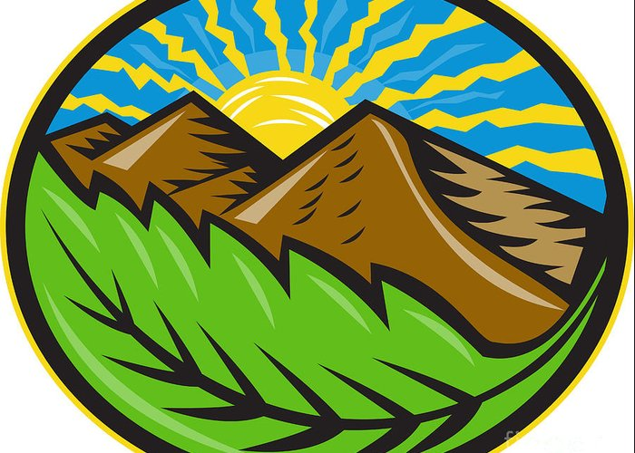 Mountain Greeting Card featuring the digital art Mountains Leaf Sunburst Retro by Aloysius Patrimonio