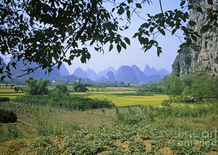 Landscape Greeting Card featuring the photograph mountains near Yangshou and Guilin by Rudi Prott