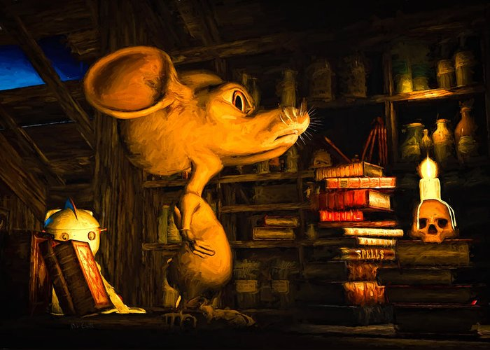 Attic Greeting Card featuring the painting Mouse In The Attic by Bob Orsillo