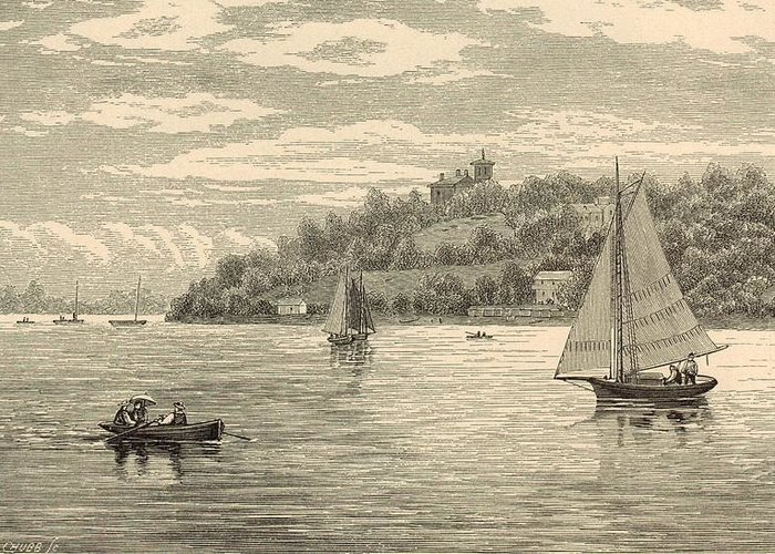 Vintage Greeting Card featuring the painting Mouth Of The Shrewsbury River 1872 Engraving by Antique Engravings