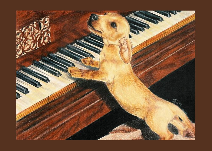 Purebred Dog Greeting Card featuring the drawing Mozart's Apprentice by Barbara Keith