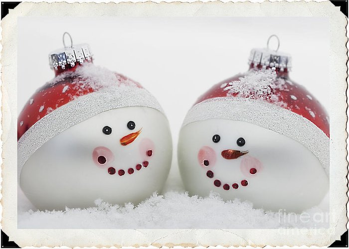 Celebrate Greeting Card featuring the photograph Mr. And Mrs. Snowman by Linda D Lester