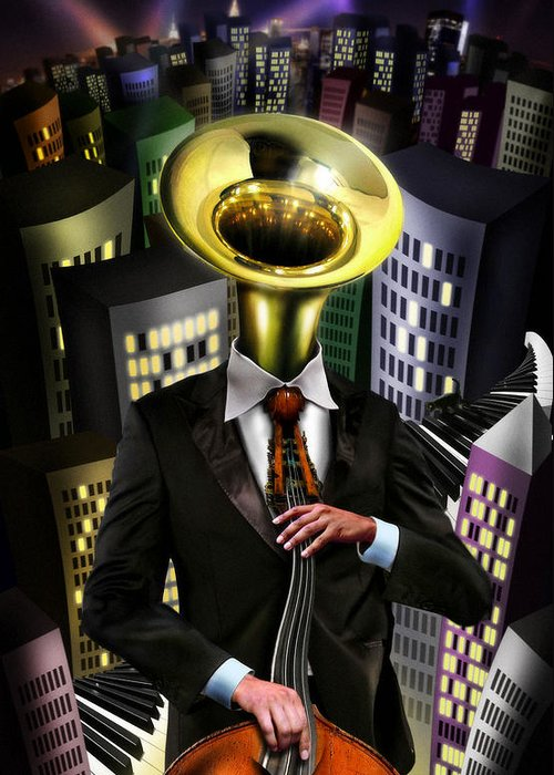Tuba Greeting Card featuring the digital art Mr Blue by Alessandro Della Pietra