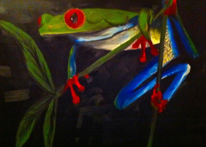 Frog Greeting Card featuring the painting Mr Giggles by Angelia Young