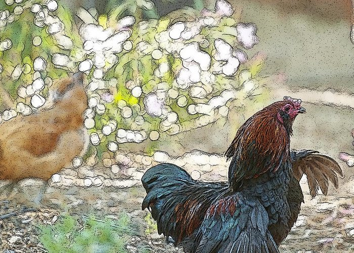 Rooster Art Greeting Card featuring the digital art Mr. Rooster Struts by Artist and Photographer Laura Wrede