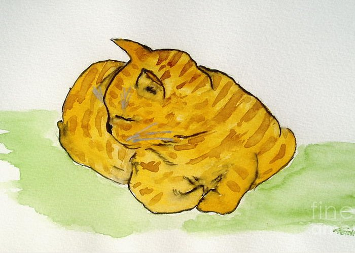 Cat Painting Greeting Card featuring the painting Mr. Yellow by Reina Resto