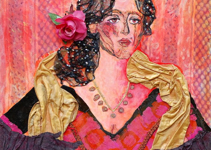 Flower In Hair Greeting Card featuring the mixed media Mrs. Dedlocke by Diane Fine