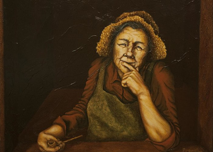 C Michael French Portraits Greeting Card featuring the painting Mrs. Zackaharia by C Michael French