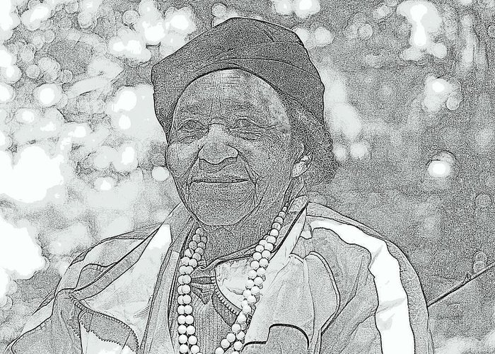 Black And White Portrait Digital Artwork Ms. Ida Senior Citizen Beautiful Lady Wise Worked Hard Young At Heart Going Fishing Life Aged Striped Jacket Pearls Lady Black Women Bokeh Oak Trees Ida Williams Portrait Grand Lady Black Lady Black Senior Citizen Wisdom Experience Life Experiences Funny Grand Dam Stories History Woodland Park Michigan Brookings Lake Detroit Southern Born Daughter Of Share Cropper Daughter Of A Farmer Hard Worker Greeting Card featuring the photograph Ms. Ida by Rosemarie E Seppala