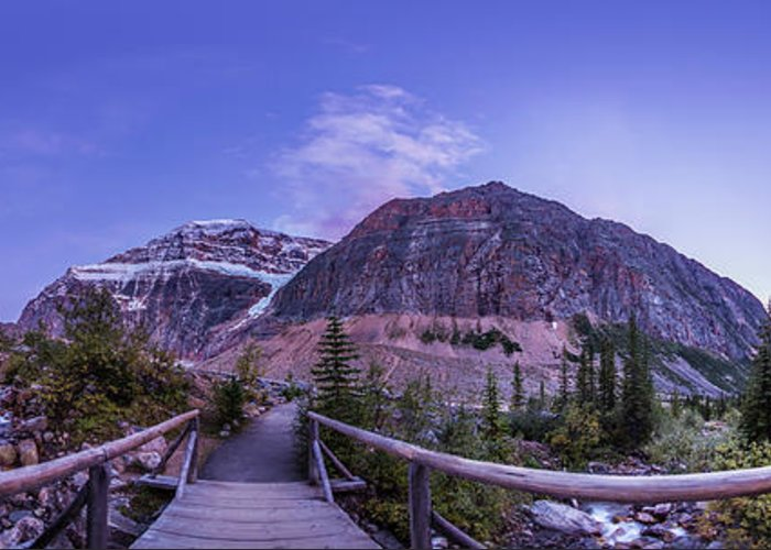 360� Greeting Card featuring the photograph Mt. Edith Cavell Trail At Twilight by Alan Dyer