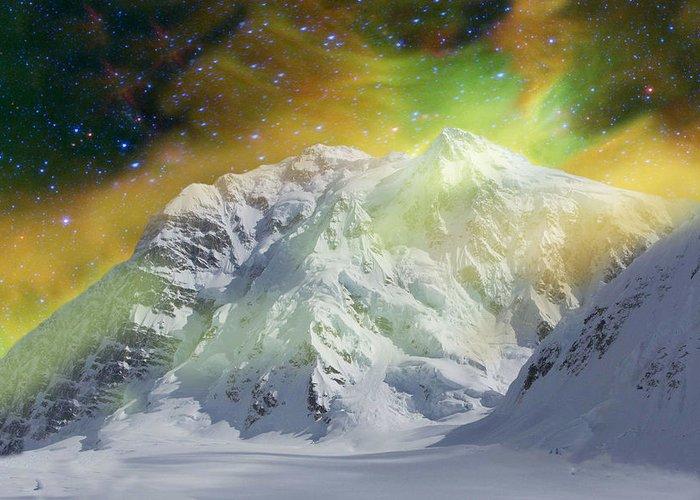 Alaska Greeting Card featuring the photograph Mt. Hunter Aurora # Da 129 by Dianne Roberson