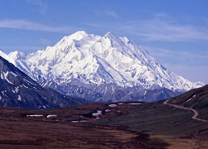 Mt. Mckinley Greeting Card featuring the digital art Mt. Mckinley by Cathy Anderson