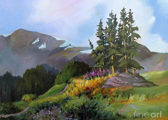 Landscape Greeting Card featuring the painting Mt. Rainier 2 by Marta Styk