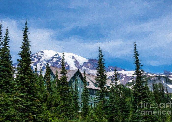 Mt Rainier Greeting Card featuring the photograph Mt Rainier And Paradise Inn by Sharon Seaward