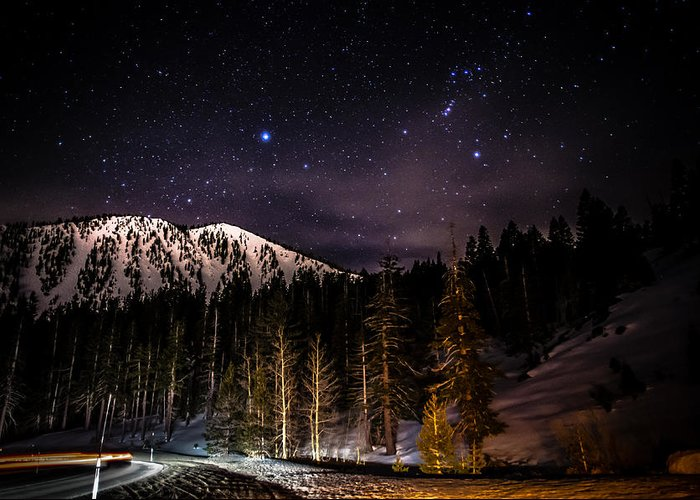 Astrophotography Greeting Card featuring the photograph Mt. Rose Highway And Ski Resort At Night by Scott McGuire