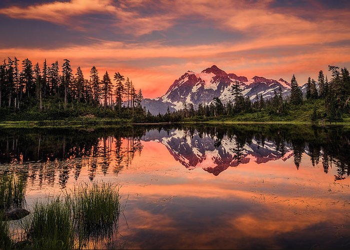 Mount Shuksan Photographs Greeting Card featuring the photograph Mt. Shuksan - Picture Lake by Dennis Romano