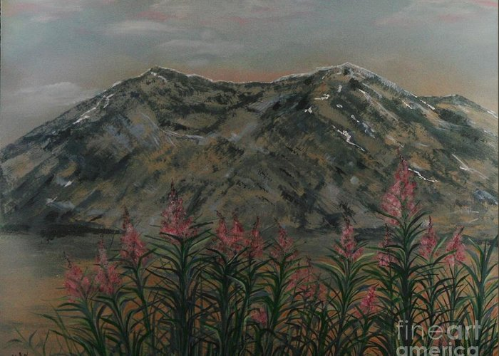 Impressionistic Landscape Greeting Card featuring the painting Mt St.helen by Doreen Karales Zonts