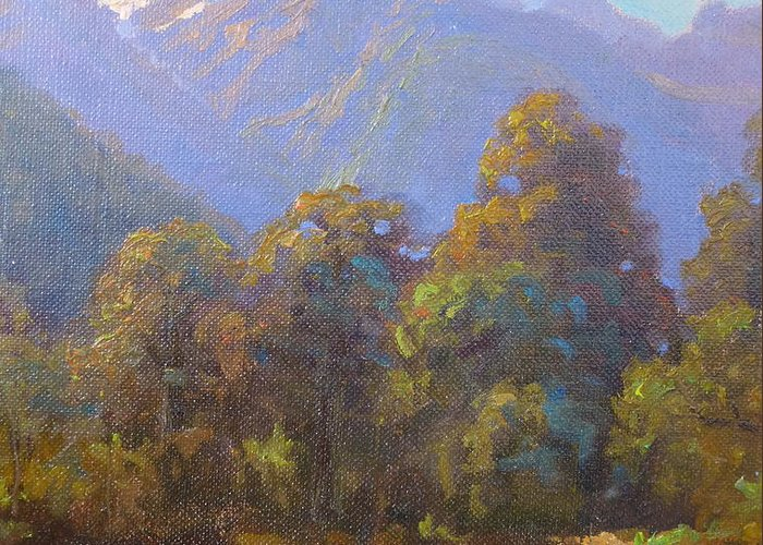 Landscape Greeting Card featuring the painting Mt. Tewhero Holyford V.landscape by Terry Perham