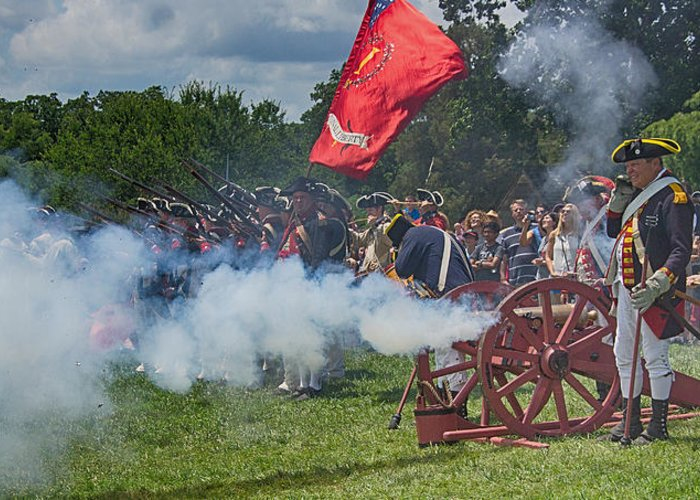 Vernon Greeting Card featuring the photograph Mt Vernon Cannon Fire 4th Of July by Jack Nevitt