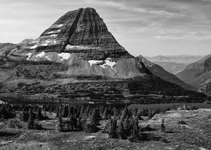 Black And White Greeting Card featuring the photograph Mt. Wilbur-hidden Lake by Frank Burhenn