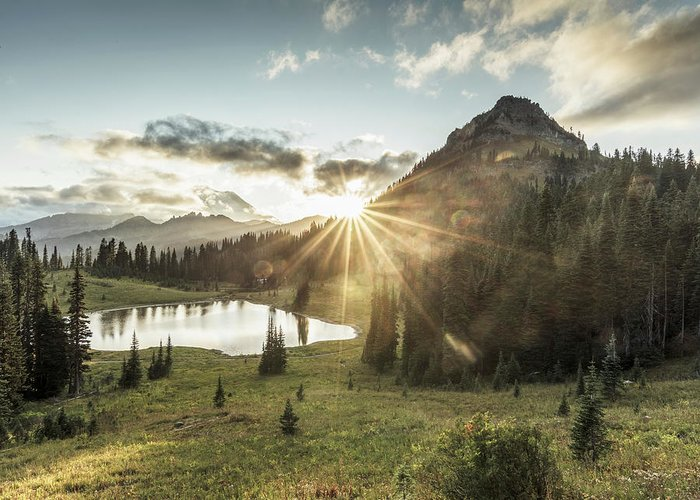 Scenics Greeting Card featuring the photograph Mt.rainier In Sunset by Chinaface