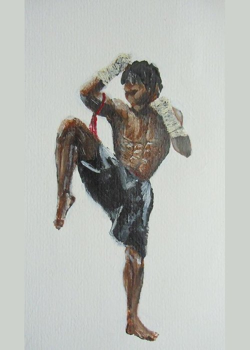 Muay Thai Greeting Card featuring the painting Muay Thai Fighter by Rafal Kilimnik
