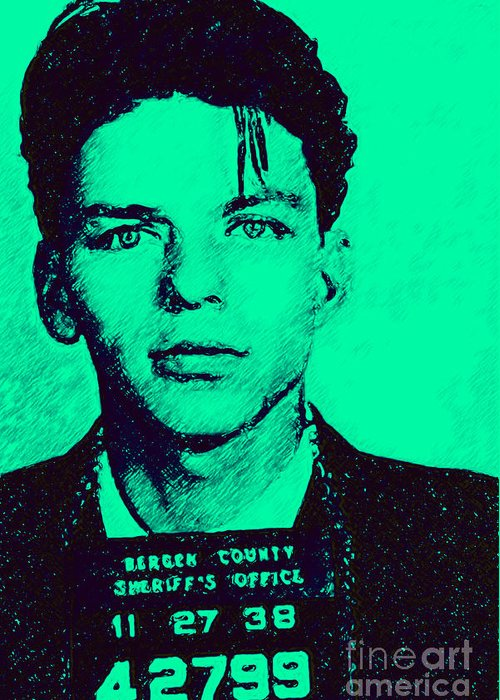 Frank Greeting Card featuring the photograph Mugshot Frank Sinatra V1m128 by Wingsdomain Art and Photography