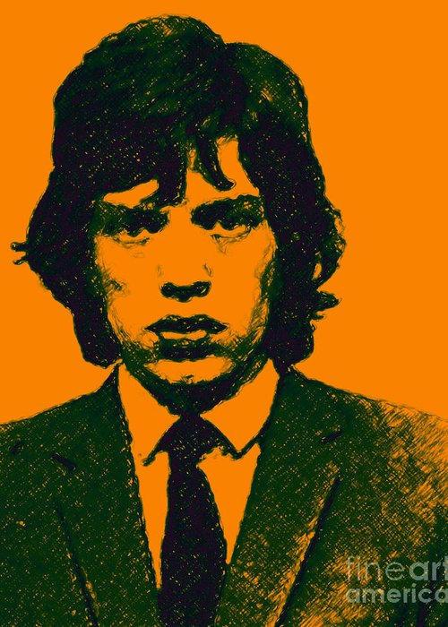 Mick Jaggar Greeting Card featuring the photograph Mugshot Mick Jagger P0 by Wingsdomain Art and Photography