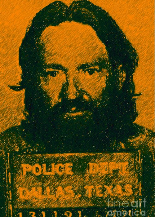 Celebrity Greeting Card featuring the photograph Mugshot Willie Nelson P0 by Wingsdomain Art and Photography