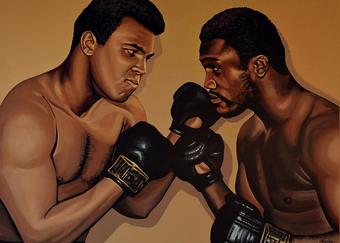 Mohammed Ali Versus Joe Frazier Greeting Card featuring the painting Muhammad Ali And Joe Frazier by Paul Meijering