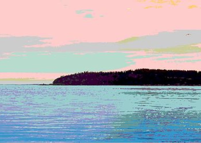 Abstract Greeting Card featuring the digital art Mukilteo Clinton Ferry Panel 2 Of 3 by James Kramer