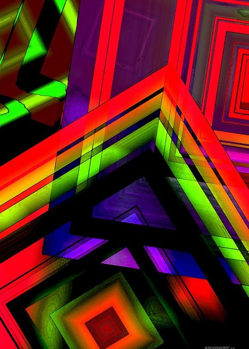 Red Greeting Card featuring the digital art Multicolor Geometric Artwork by Mario Perez