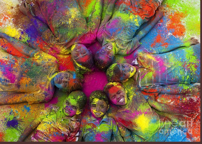 Indian Boys Greeting Card featuring the photograph Multicoloured Boys by Tim Gainey
