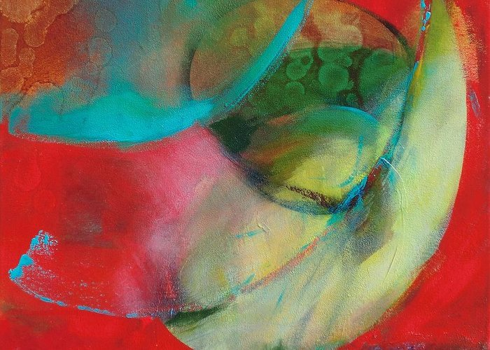 Acrylic Greeting Card featuring the painting Multiverse 1 by Kathryn Kaye