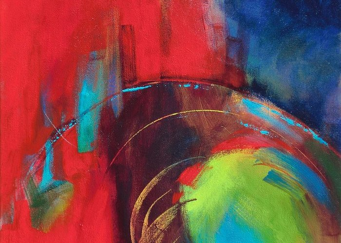 Abstract Greeting Card featuring the painting Multiverse 2 by Kathryn Kaye