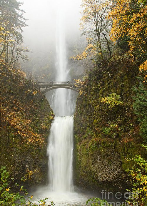 Multnomah Falls Greeting Card featuring the photograph Multnomah Autumn Mist by Mike Dawson
