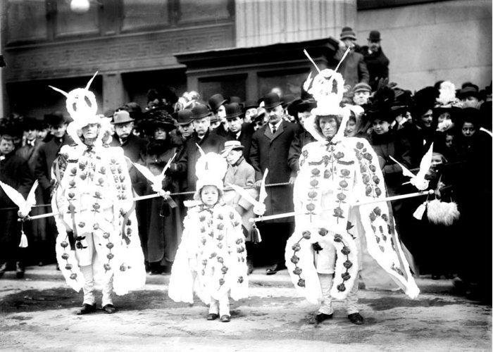 1909 Greeting Card featuring the photograph Mummers Circa 1909 by Bill Cannon
