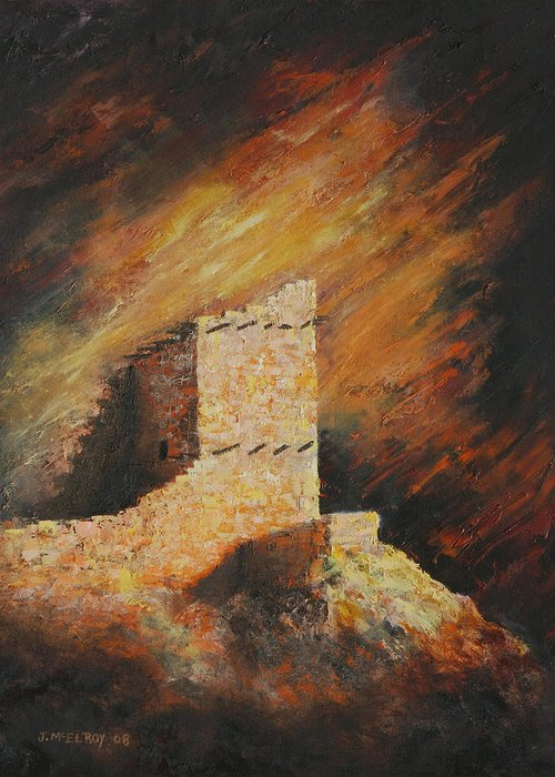 Anasazi Greeting Card featuring the painting Mummy Cave Ruins 2 by Jerry McElroy