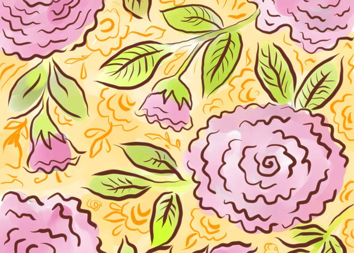 Pink Greeting Card featuring the digital art Mums And Roses by Elaine Jackson