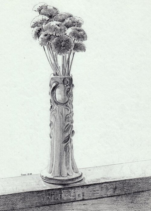 Mums Greeting Card featuring the drawing Mums In A Vase by Robert Tracy