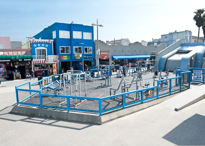 Venice Greeting Card featuring the photograph Muscle Beach Gym In Venice California by Joe Belanger