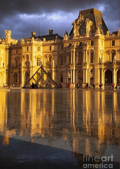 Architectural Greeting Card featuring the photograph Musee Du Louvre Sunset by Brian Jannsen