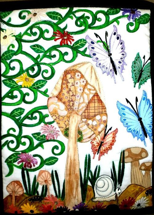 Quilts Greeting Card featuring the tapestry - textile Mushroom Hunt by Linda Egland