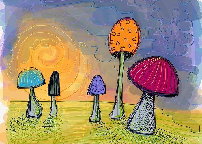 Mushrooms Greeting Card featuring the digital art Mushrooms by Kate Fortin