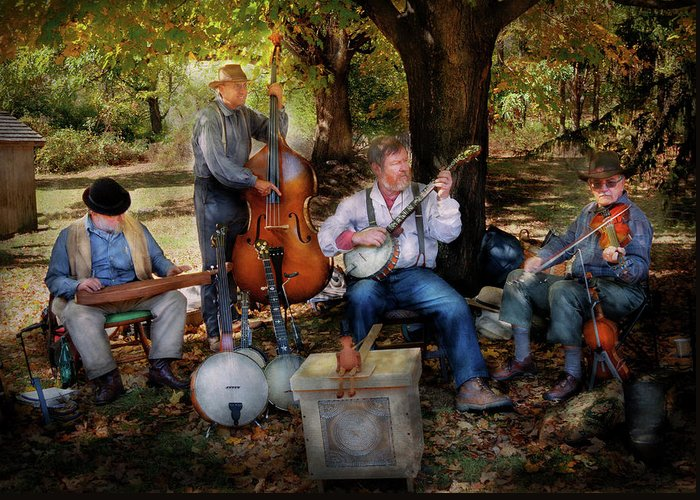 Family Greeting Card featuring the photograph Music Band - The Bands Back Together Again by Mike Savad