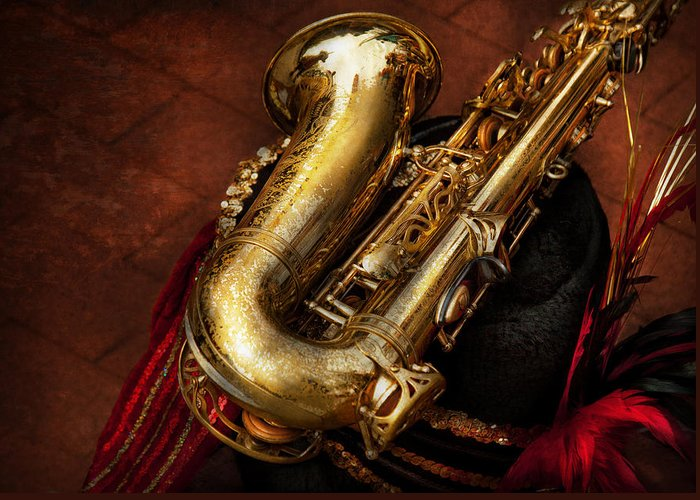 Hdr Greeting Card featuring the photograph Music - Brass - Saxophone by Mike Savad
