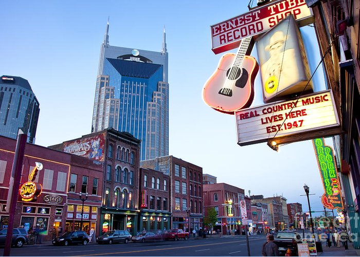 At&t Greeting Card featuring the photograph Music City Usa by Brian Jannsen