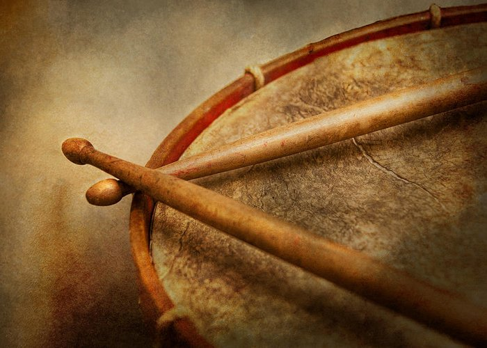 Hdr Greeting Card featuring the photograph Music - Drum - Cadence by Mike Savad